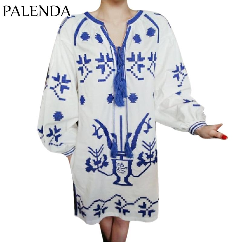 Blue Fabric Dress Bohemian Color Fit Boho Handmade Kaftan Cotton Pattern Wide Embroidery Lantern 2017 Loos White Sleeve HxYqfvw