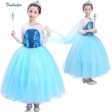 Girls Elsa Anna Costume Blue Snow Queen Long Sleeve Sequined Dress With Long Train Halloween Christmas Party Cosplay Dresses muababy girl anna dress up clothes with cape children long sleeve floral applique snow queen cosplay costume for halloween party