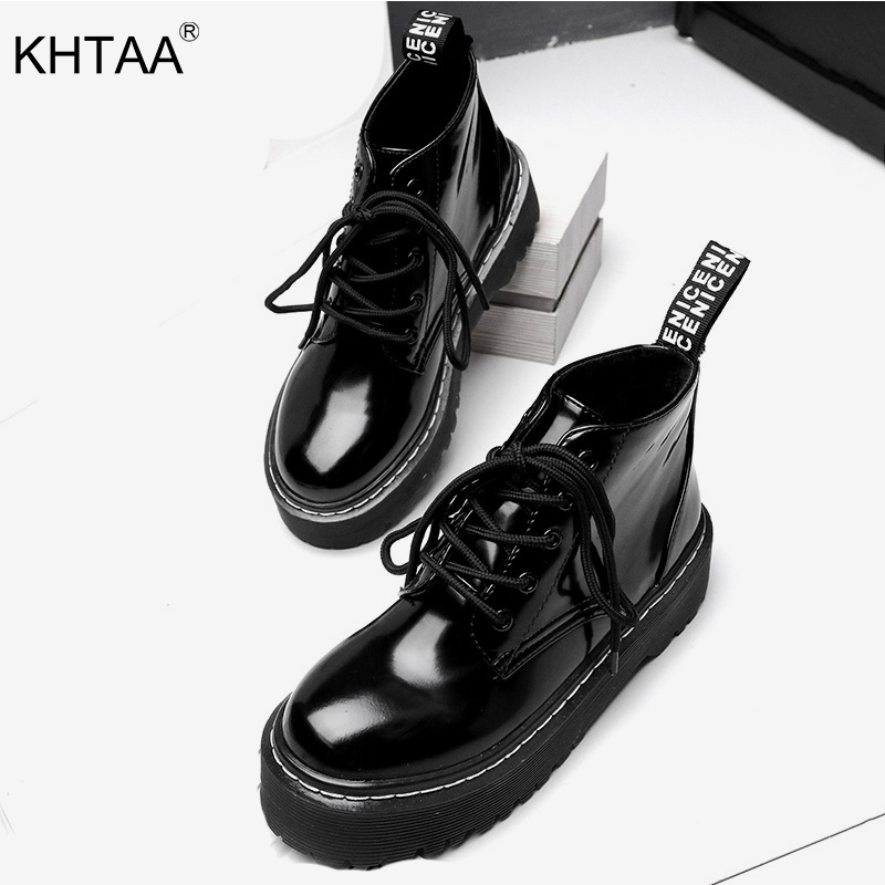 Women's Flats Platform Ankle Boots Autumn Solid Patent Leather Shoes Woman Lace Up Fashion Party Winter Footwear For Ladies 2018 hee grand solid patent leather women oxfords british new fashion platform flats casual buckle strap ladies shoes woman xwd5833
