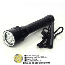 Diving Lamp 3 CREE XM L2 4000LM LED Flashlight Torch Waterproof 100m LED Aluminum Free Shipping