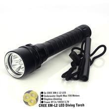 Дайвинг Лампа 3 * CREE XM-L2 4000LM СВЕТОДИОДНЫЙ Фонарик Водонепроницаемый фонарик 100 м СВЕТОДИОДНЫЙ Алюминиевый, Бесплатная Доставка