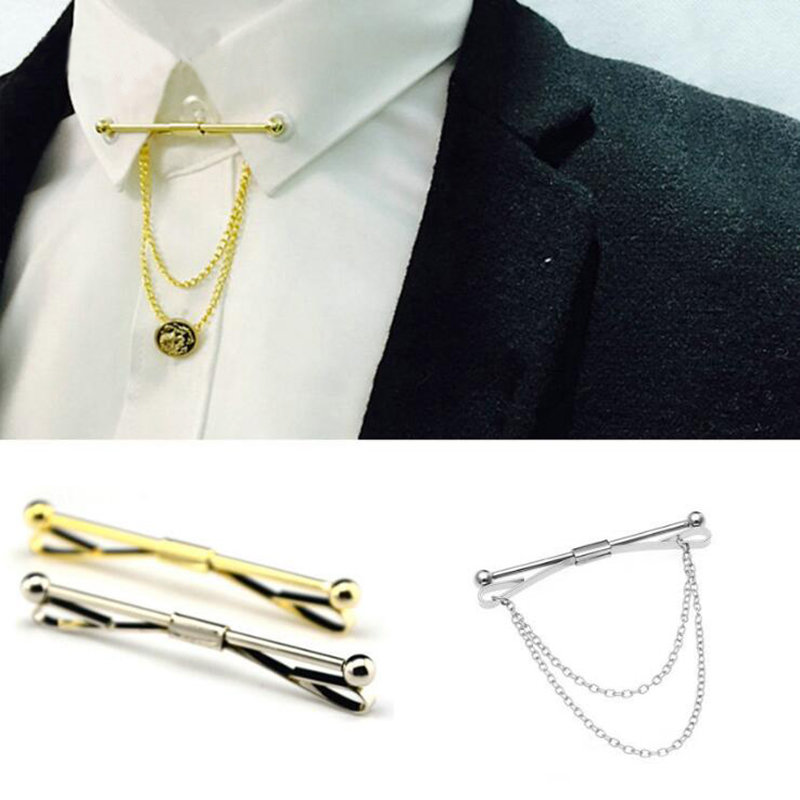 2016 New Collar Pin Tie Clips Men Metal Silver Tone Simple