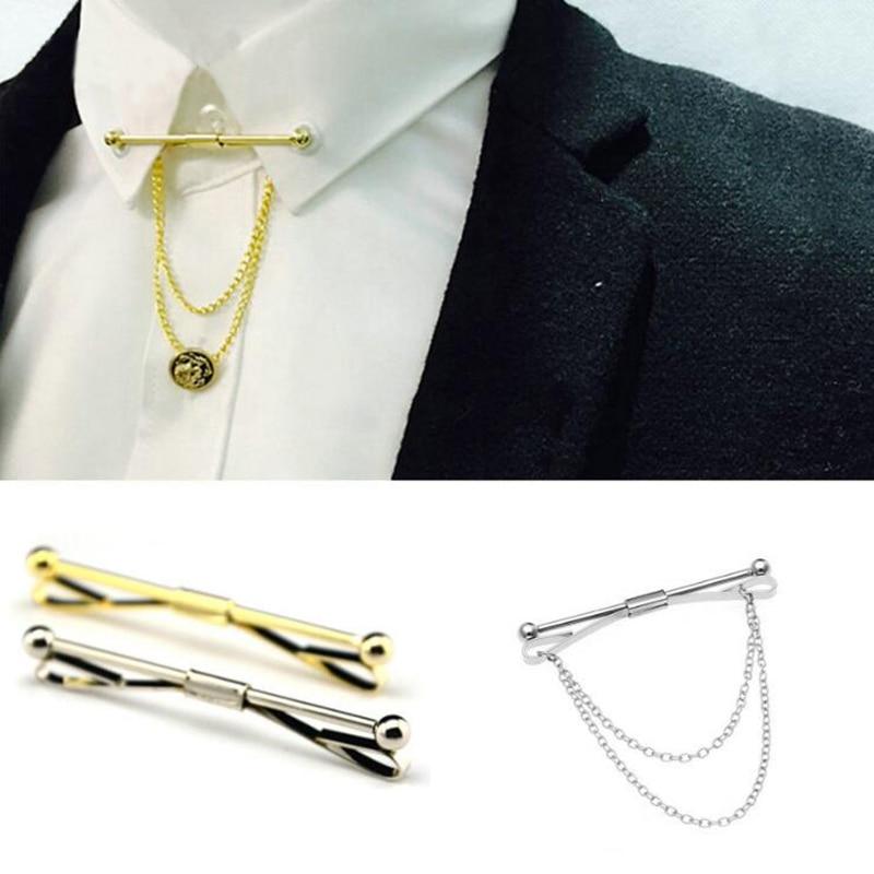 GUSLESON 2017 New Collar Pin Tie Clips Men Metal Silver Tone Simple Necktie Tie Bar Clasp Clip