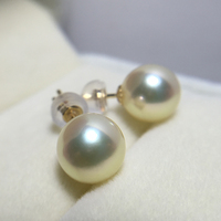 Women Gift word 925 Sterling silver real 8 8.5mm jewelry circle very bright light golden natural seawater pearl earrings gold 18