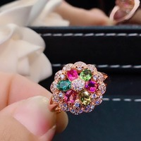 New Women Ring 585 Rose Gold Water Drop Natural nature Tourmaline Color Opening Adjustable Rings Wedding Party Jewelry
