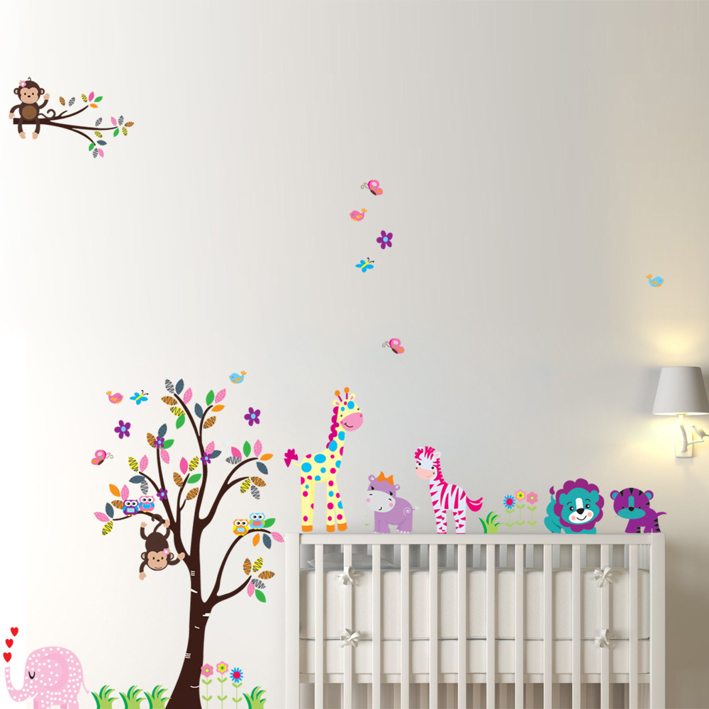 Free shipping 5099 cute animal cartoon forest nursery wall free shipping 5099 cute animal cartoon forest nursery wall stickers childrens room decorative tree wall stickers wall decor in wall stickers from home amipublicfo Choice Image