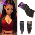10A Cambodian Straight Hair With 4X4 Swiss Lace Closure Cambodian Virgin Hair Straight Human Hair 3 Bundles With Closure 1 Pc
