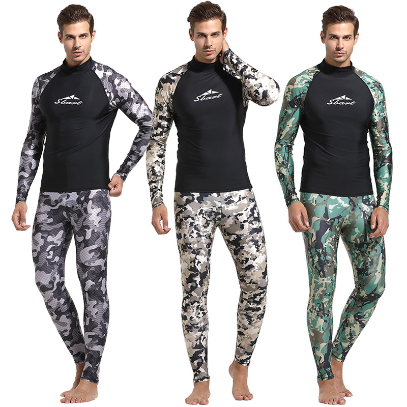 1 Piece Camouflage Rash Guards Men Swimsuits Long Sleeves Surfing Sailing Clothes Male Swimwears Wetsuits Bathing Suits 2018 EO