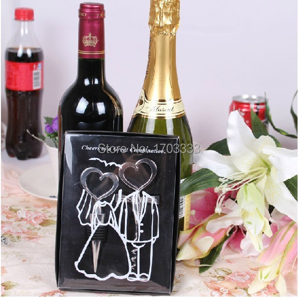 Cheap Free shipping Cheers to a great combination wine bottle stopper 100SET/LOT wedding favors and gifts #2124 image