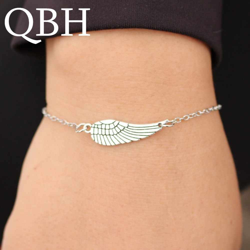 L182 Bijoux New Punk Gothic Vintage Angel Wings Feather Bracelet Bangle For Women Charm Chain Jewelry Girl Gift mujer pulseras