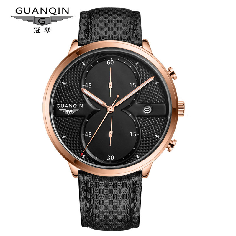 Fashion Men Watch Top Luxury Brand GUANQIN Big Dial Designer Quartz Watches Men Sports Wristwatch Waterproof Leather Clock Male