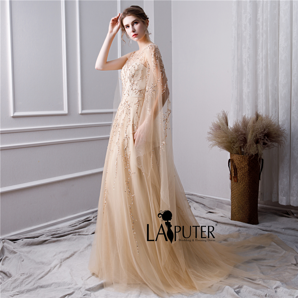 fb627670f922e Aliexpress.com : Buy LAIPUTER 2019 New Evening Dresses with Luxury Beading  Crystal Scoop Neck V back Cape Champagne Gold Prom Dresses Long Elegant  from ...
