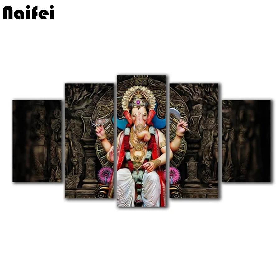 5 pièces hindou dieu Ganesha peinture mur Art photo pour la décoration intérieure, 3d diamant broderie mosaïque point de croix artisanat