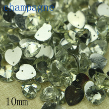 50 pcs Diy hand-made champagne acrylic hand-sewn drill flat heart-shaped 10mm garment accessories