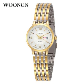 WOONUN Top Brand Ladies Luxury Stainless Steel Date Day Bracelet Women Quartz Watches