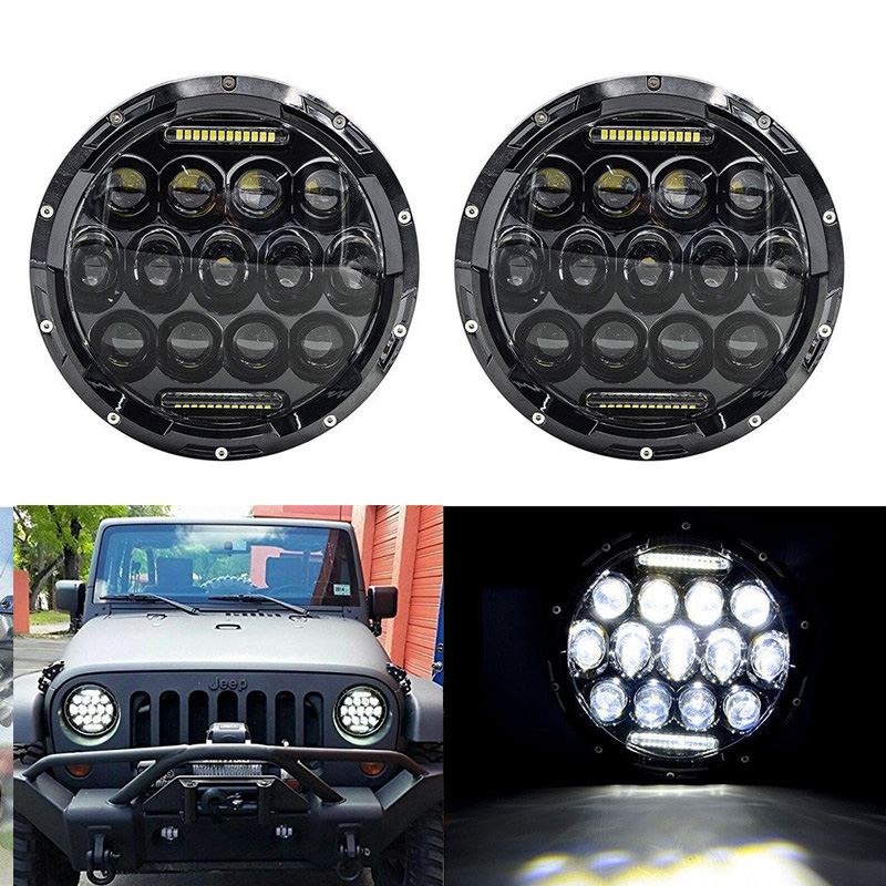 Black/Chrome Round 75W high/low Beam DRL LED Auto Headlight Driving  fog Lights for Jeep Wrangler Hummer H1 H2 Offroad 7inch round black left hand led headlight hi low beam 80w high bright driving lamp for jeep harley