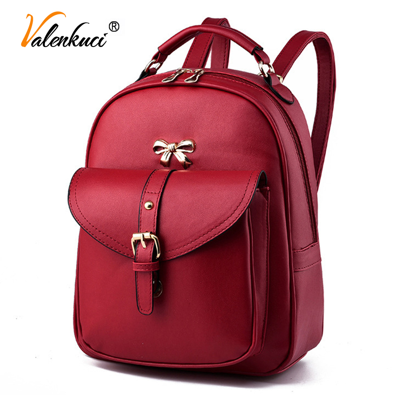 Valenkuci 2017 women leather backpacks womens travel bags brand school backpack black shoulder bags mochila feminina