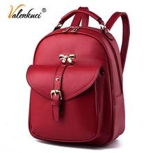 Valenkuci 2017 рюкзаки женщин кожа женщин дорожные сумки школьный рюкзак марка черные сумки на ремне mochila feminina BD-174