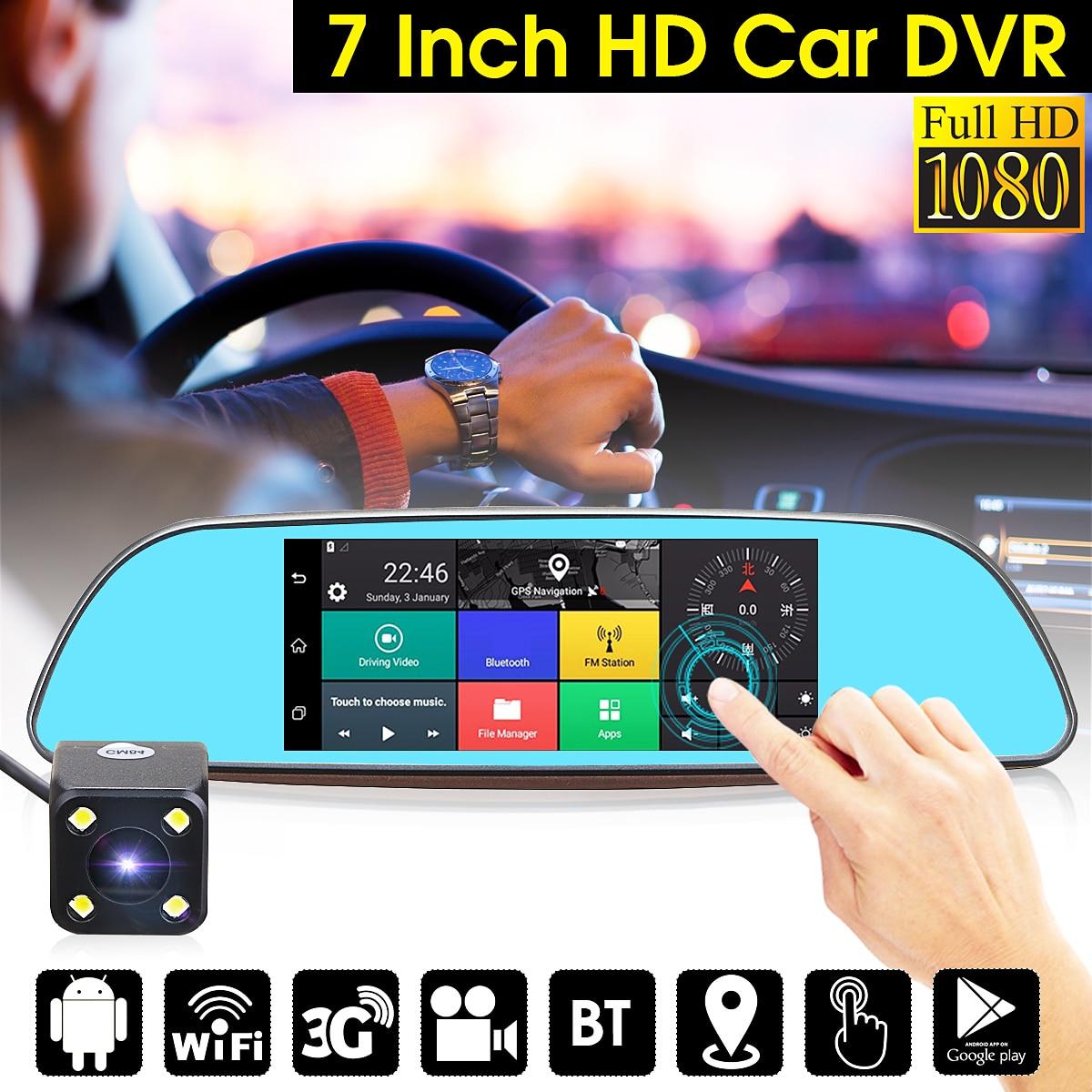 7 Car DVR Mirror Camera Android 5.0 Wifi GPS Full HD 1080P Video Recorder Dual Lens Registrar Rear View Dvrs Dash Cam podofo 7 car dvr mirror camera full hd 1080p video recorder dual lens registrar rear view dvrs dash cam auto parking assistance