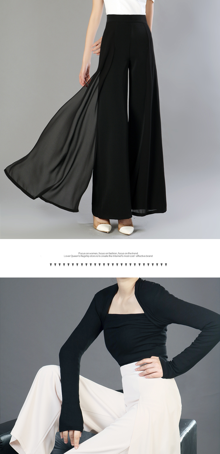HTB1jNofMpzqK1RjSZFoq6zfcXXaX - Elegant women summer Wide leg pants elastic high waist split chiffon trousers Casual streetwear fashion female palazzo PA003