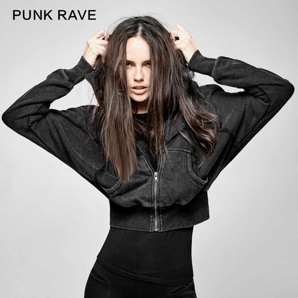 Manches chauve-souris sweat à capuche court femmes Punk lâche tricoté à capuche Zip femmes sweat à capuche haut vêtements