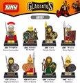 8 unids Gladiatus Superhéroes Figuras Caballeros Medievales Roma Comandante Highland Elf Hunter Warrior Building Blocks Juguetes X0137