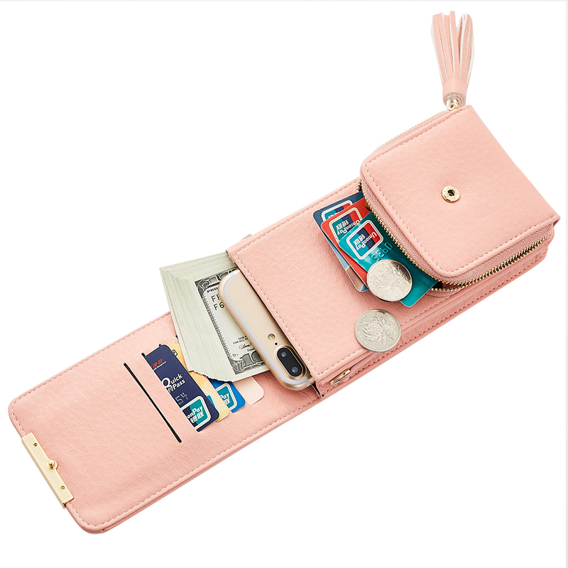 Mini Women Metal Chain Crossbody Bag Long Female Tassels Design Wallet Candy Color Girl's Cell Phone Holder Cards Pocket Clutch 4