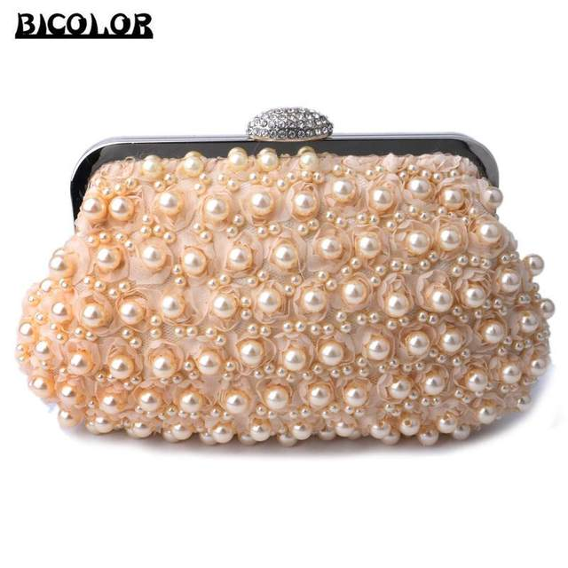BICOLOR Evening Bag Two Sided Beaded Fashion Exquisite Beaded Noble Elegant  Pearl Clutch Bags Luxury Party 2a16e8d01b0c