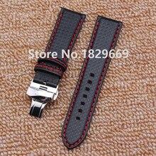 Tejido de fibra de carbono de las correas de accesorios de plata del reloj de despliegue hebilla venda de reloj de las pulseras 20 mm 22 mm