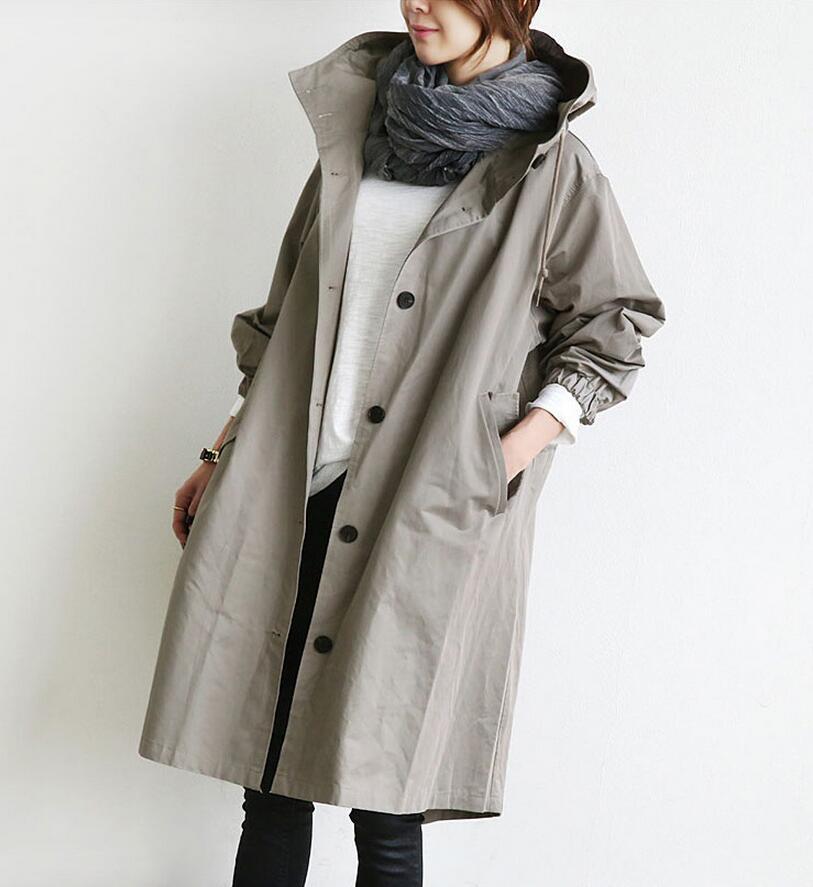 Manches Vêtements Casual Femmes Black Nouvelles 2018 Trench S918 Longues À Femme gray Manteau Couleur Poches Solide Capuche IBnxwwq5H