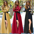 2017 Nova Moda Outono Mulheres Blusão Fino Zipper Casaco Longo X-Mistura De Lã Colocar em um grande Divisão Trincheira Casacos das mulheres