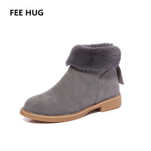 FEE HUG Winter Women's Boots Fashion Suede Fur Ankle Boots With Zippers Plush Warm Shoes For Woman Ladies Zapatos Mujer Botas
