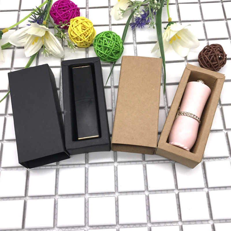 50pcs- 25*25*78mm Black Paper Drawer Box Kraft Lipstick Packaging Boxes for Essential Oil Perfume Sample Lipstick Gift Package