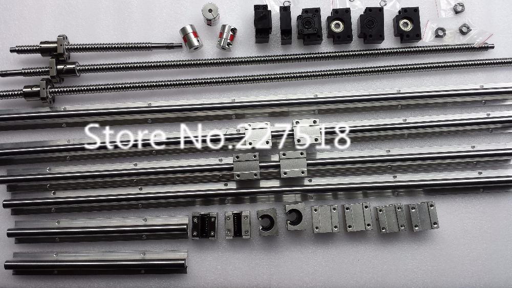 6 sets linear rail SBR16 L300/1000/1300mm+SFU1605-300/1000/1300/1300mm ball screw+4 BK12/BF12+4 DSG16H nut+4 Coupler for cnc 3pcs of ballscrews rm1605 400 1000 1300mm c7 3bkbf12 sbr16 400 1000 1300mm rails 12sbr16uu bearing blocks 3pcs nut housing
