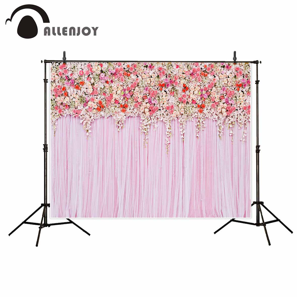 Allenjoy photographic background Pink cute flowers romantic wedding new backdrop photocall photo customize camera fotografica