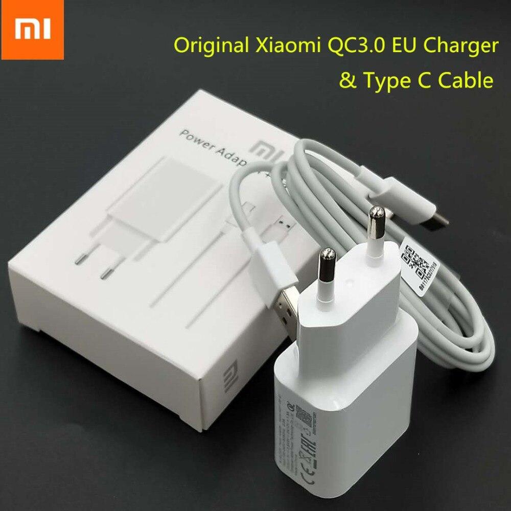 Xiaomi rojo mi nota 7 mi 8 6 6X cargador rápido carga rápida adaptador de pared USB 1 M Tipo de Original -C Cable de datos teléfono móvil F1/tiburón negro