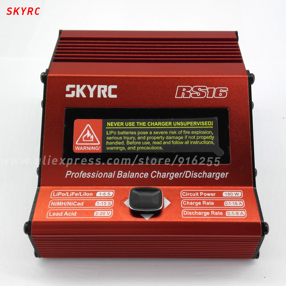 ФОТО skyrc rc lipo charger balance rs16 180w / 16a micro processor control discharger for rc lipo life lilon battery charging