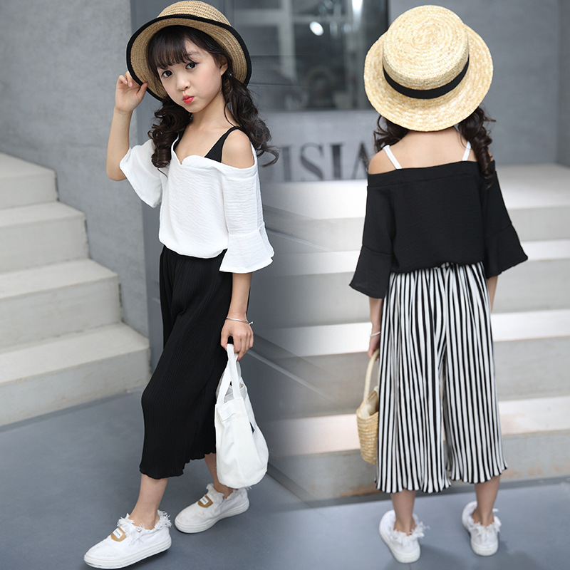2017 Summer Kids Clothes Girl Chiffon Tank Tops + Striped Broad Leg Pants Suit Children Chiffon Strapless Two Piece Set 120-160