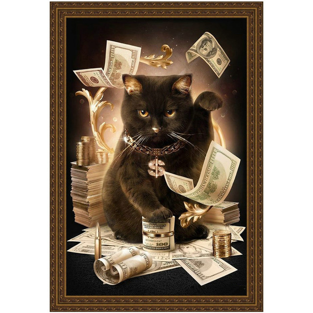 Cat with Cash Pattern Diamond Embroidery DIY Needlework 5D Mosaic Diamond Painting Cross Stitch Full XIANGYUANWUS SHOP-ZBYXZ