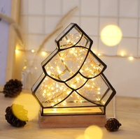 Hot sales 3D Polygon Fire tree silver flower Solid Wood Atmosphere Table Lamp , And Christmas Gift