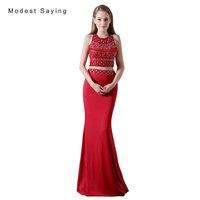 Elegant Dark Red Mermaid Beaded Crop Top Prom Dresses 2017 with Rhinestone Formal Girl Party Prom Gown vestido de formatura A006
