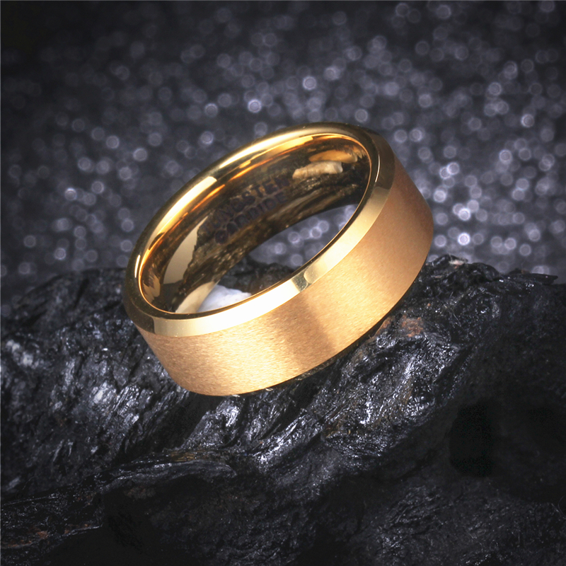 8MM Gold Color Mens Tungsten Carbide Marriage Ring Comfort Fit Women Wedding Engagement Band Alliance Jewelry WTU051R