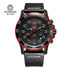 2016 New OCHSTIN Luxury Brand Men Fashion Sports Watches Men's Quartz Chronograp  Clock Man Leather Strap Business Wrist Watch