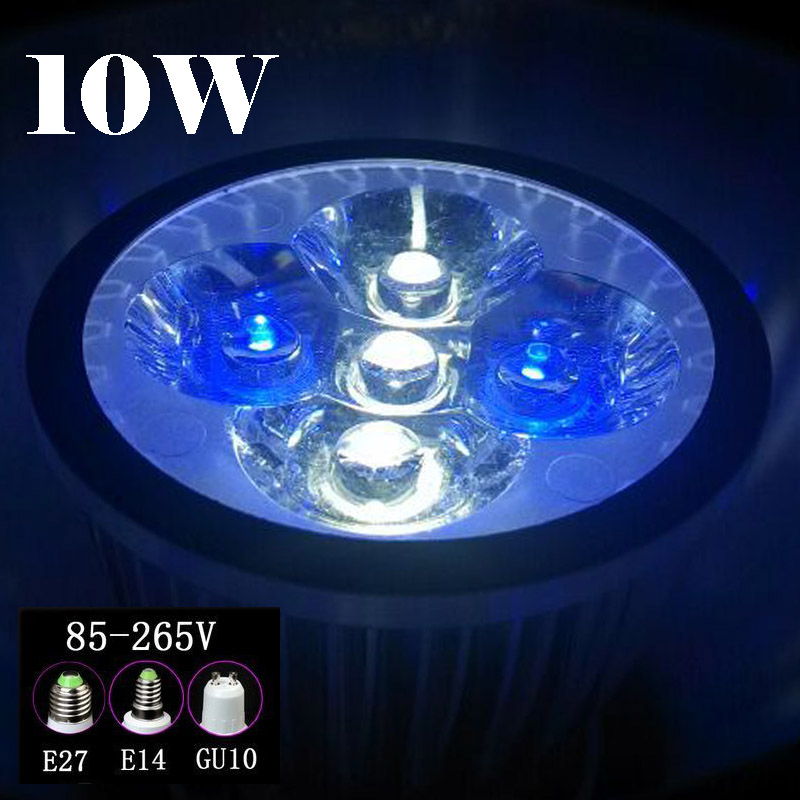 10W E27 E14 GU10 LED Aquarium Lights, Blue & White & Green For Fish Tank Lighting Aquatic Plants And Corals Lights Aquarium Lamp