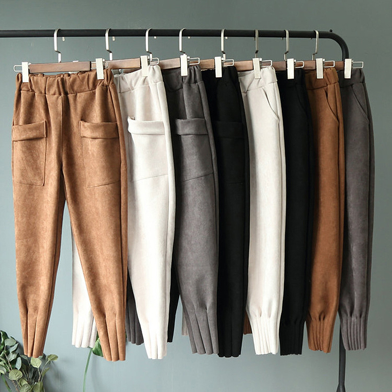 Harem Pants Pockets Trousers Women Streetwear Elastic Suede Autumn High-Waist Casual