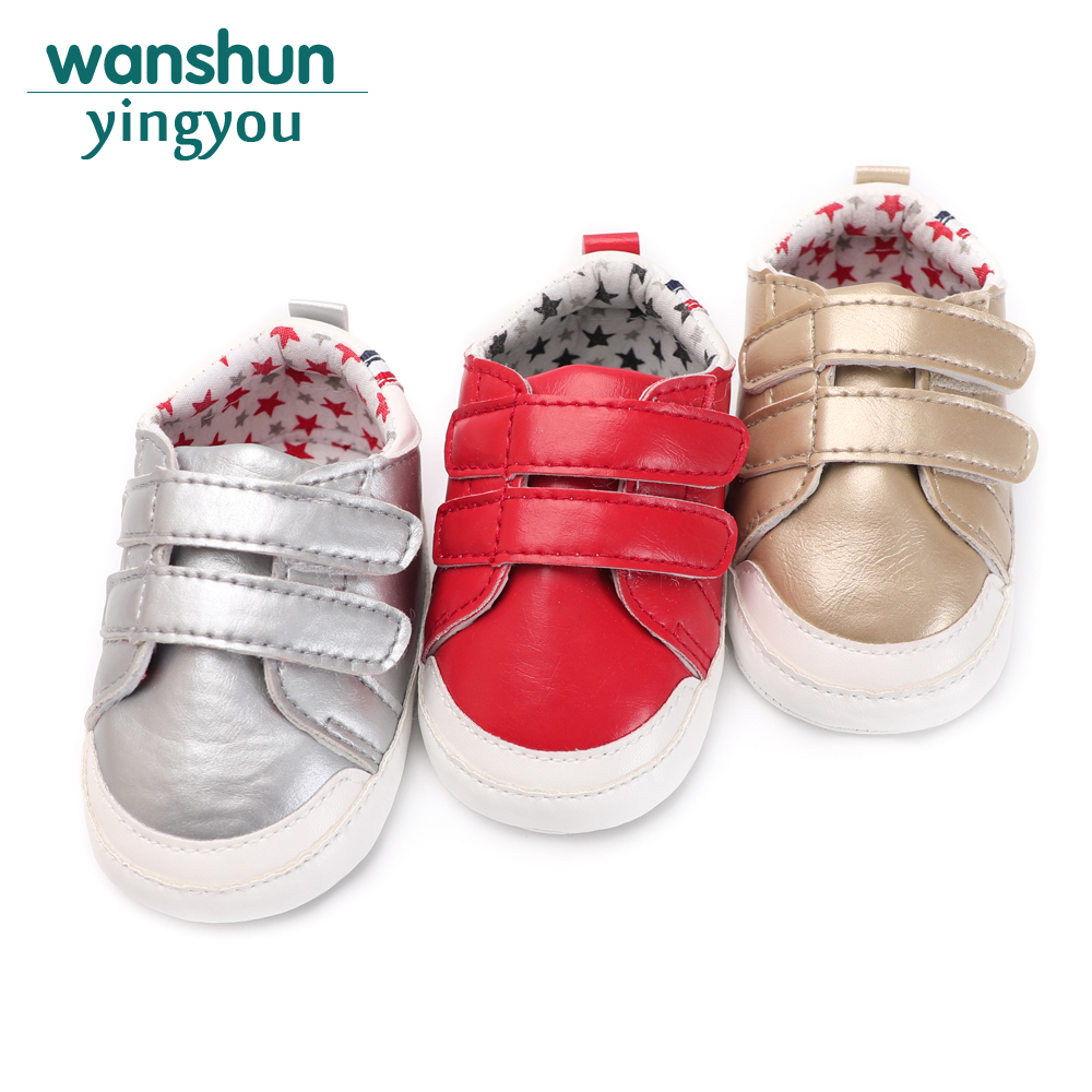 2018 Cool Newborn Unisex Baby Shoes Kids Boy Girl Soft PU Leather Solid Toddler Crib 0-18 Months First Walkers Spring/Autumn cute baby kids girls first walkers bow knot ribbon soft floral soled crib shoes white