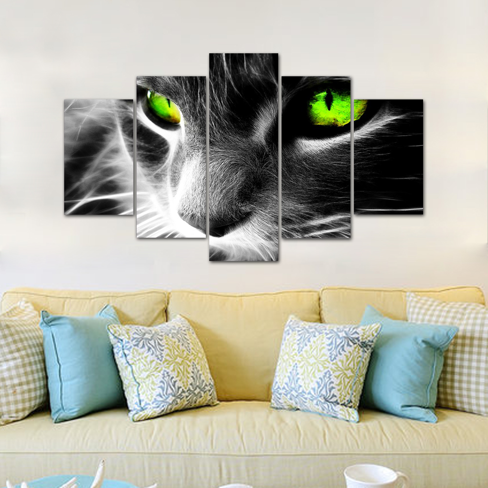 Unframed HD Print 5 Canvas Art Painting Green Eyed Cat Living Room Decoration Spray Painting Mural Unframed Free Shipping