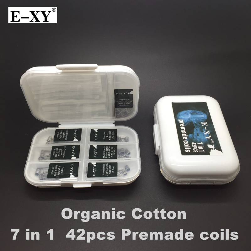 E-XY 7 in 1 Wire Box Clapton Wire Prebuilt Coils Fused Clapton Tri Core Juggernaut Staple NI80 Coils Cotton For DIY RDA Atomizer
