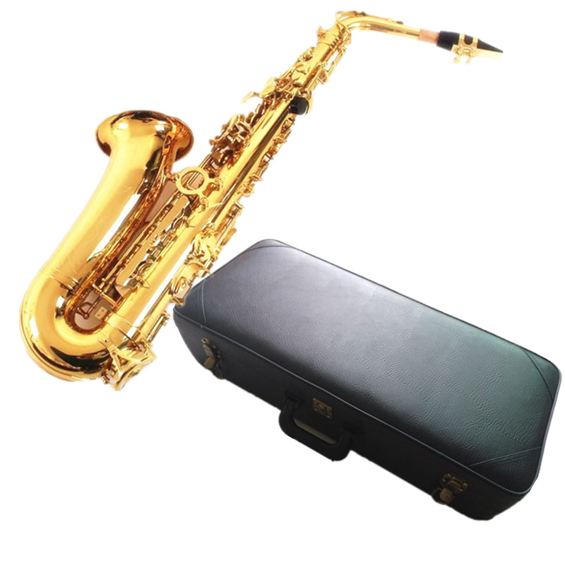 DHL,UPS 802 Saxophone Gold Alto Eb Sax mouthpiece Gold Lacquer Gold Key E- flat Saxfone Alto Sax with case,reeds,gloves.