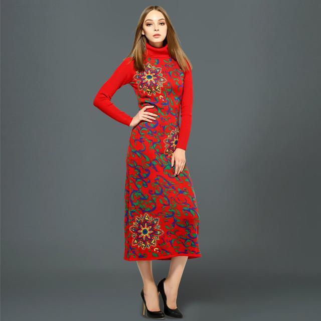 Tire poncho cardigan mujeres directo de fábrica de europa otoño invierno mujeres suéter jacquard de punto vestido maxi delgado solapa vestidos
